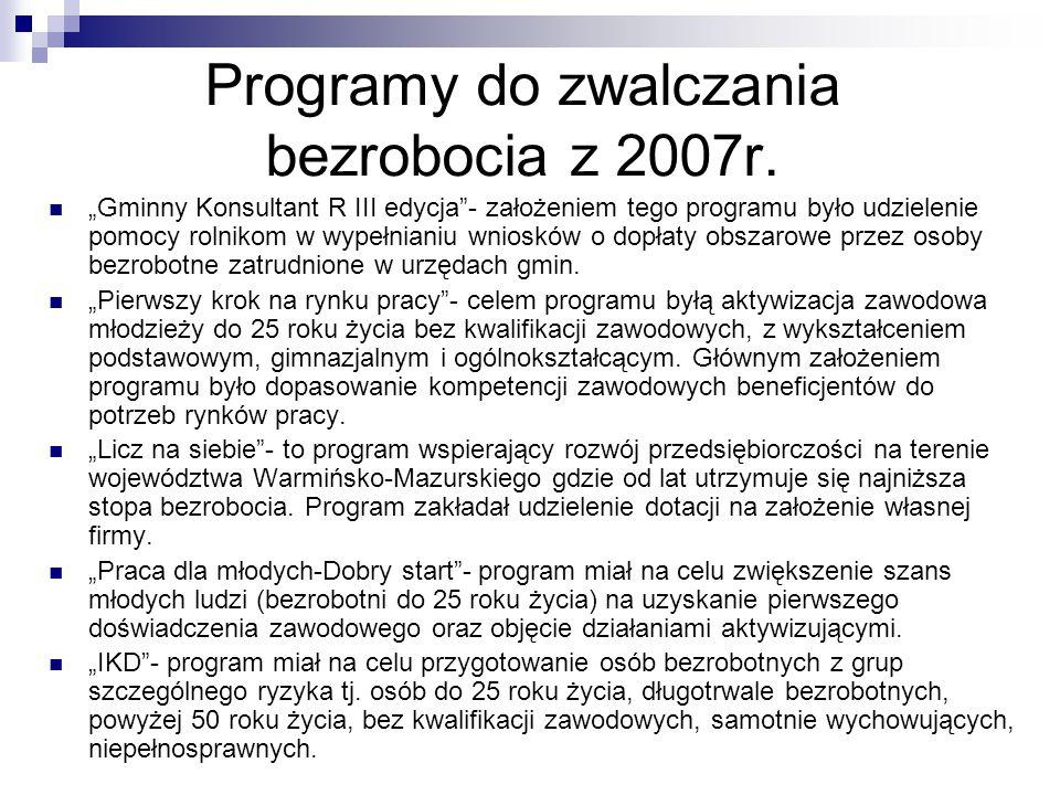 """Programy do zwalczania bezrobocia z 2007r. """"Gminny Konsultant R III edycja""""- założeniem tego programu było udzielenie pomocy rolnikom w wypełnianiu wn"""