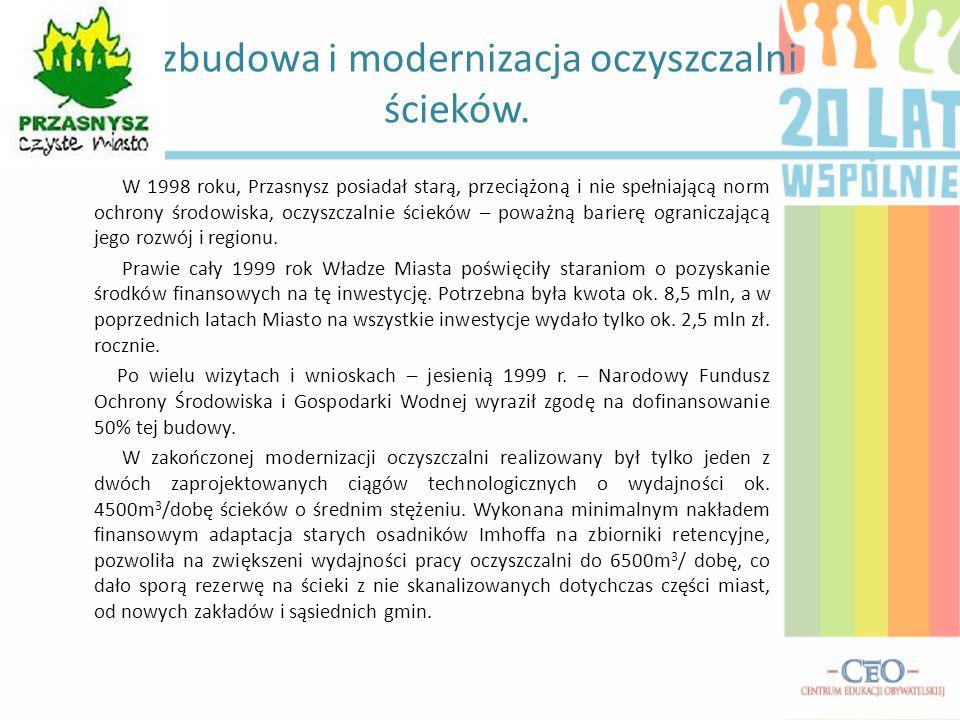 Rozbudowa i modernizacja oczyszczalni ścieków. W 1998 roku, Przasnysz posiadał starą, przeciążoną i nie spełniającą norm ochrony środowiska, oczyszcza