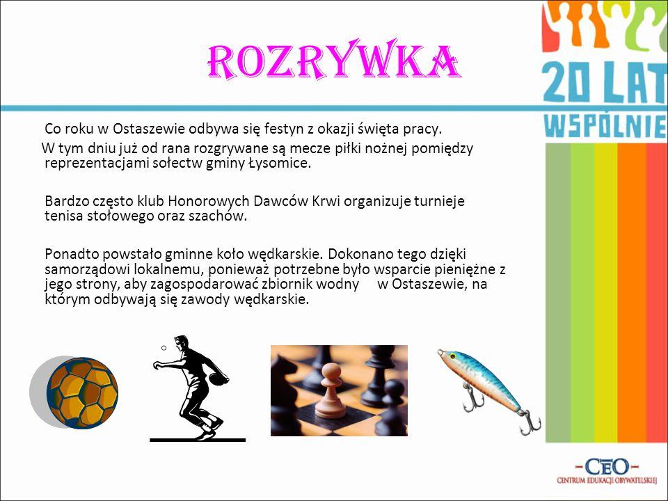 Rozrywka Co roku w Ostaszewie odbywa się festyn z okazji święta pracy. W tym dniu już od rana rozgrywane są mecze piłki nożnej pomiędzy reprezentacjam