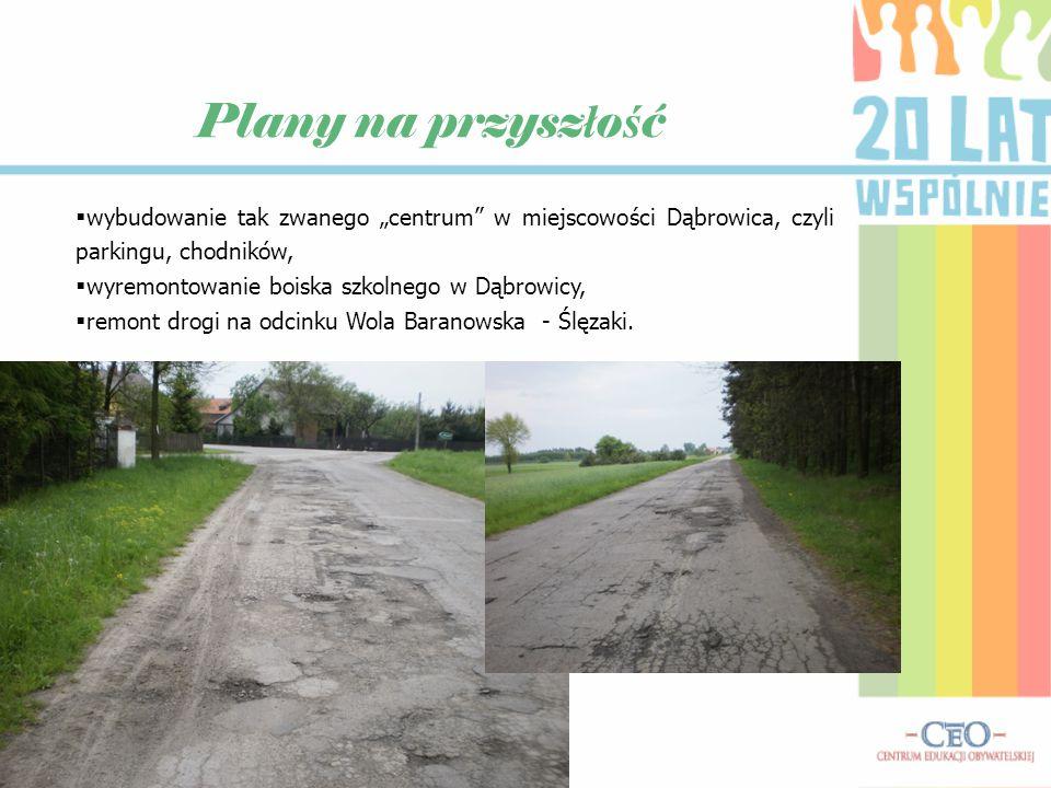 """Plany na przysz ł o ś ć  wybudowanie tak zwanego """"centrum"""" w miejscowości Dąbrowica, czyli parkingu, chodników,  wyremontowanie boiska szkolnego w D"""