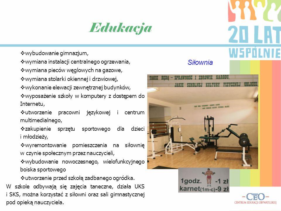 Edukacja Szkoła dawniejobecnie Boisko szkolne - dawniej Boisko szkolne - obecnie Pracownia językowa Pracownia informatyczna Centrum multimedialne
