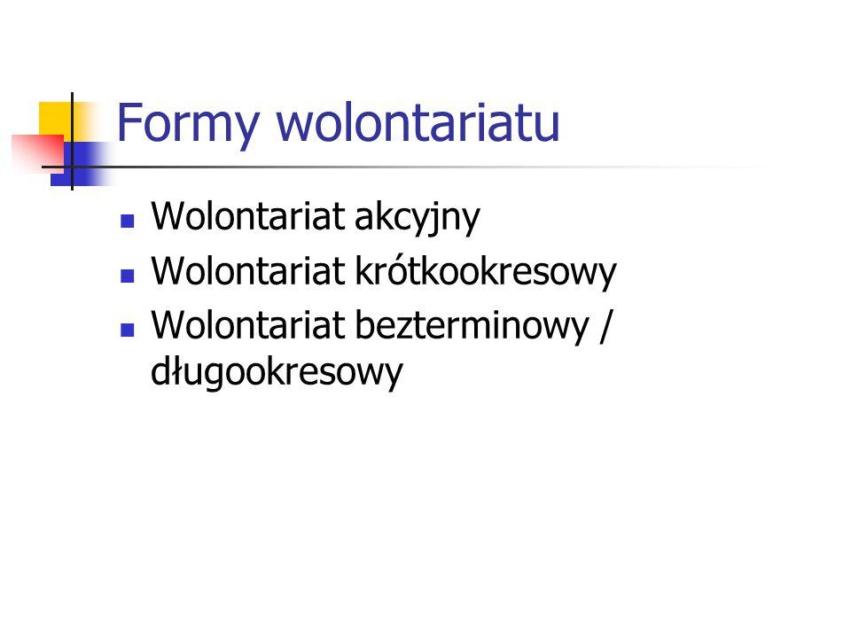 Formy wolontariatu Wolontariat akcyjny Wolontariat krótkookresowy Wolontariat bezterminowy / długookresowy