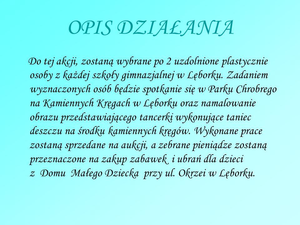 OPIS DZIAŁANIA Do tej akcji, zostaną wybrane po 2 uzdolnione plastycznie osoby z każdej szkoły gimnazjalnej w Lęborku. Zadaniem wyznaczonych osób będz
