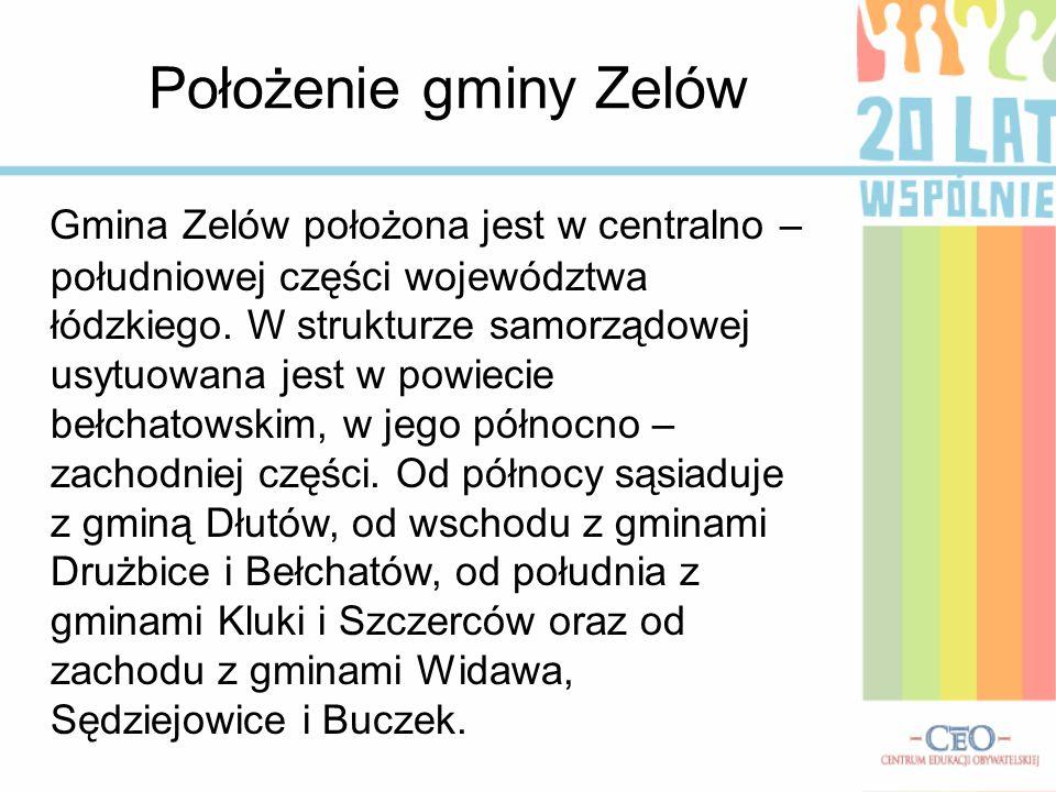 Położenie gminy Zelów Gmina Zelów położona jest w centralno – południowej części województwa łódzkiego.