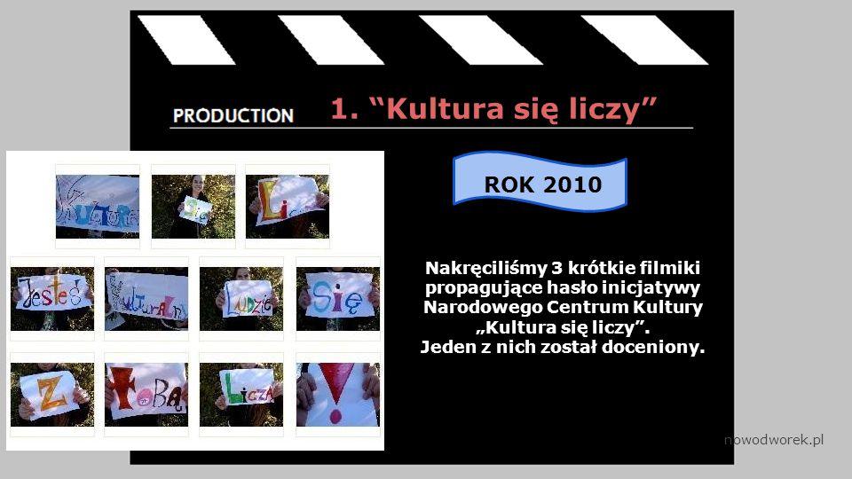 """1. """"Kultura się liczy"""" Nakręciliśmy 3 krótkie filmiki propagujące hasło inicjatywy Narodowego Centrum Kultury """"Kultura się liczy"""". Jeden z nich został"""