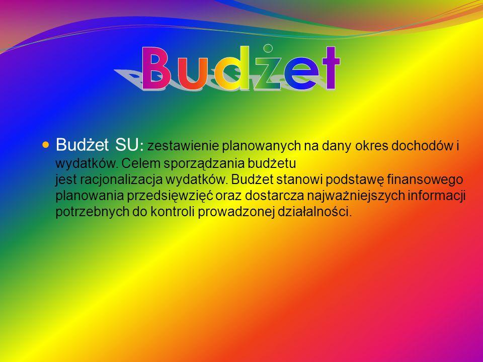 Budżet SU : zestawienie planowanych na dany okres dochodów i wydatków.