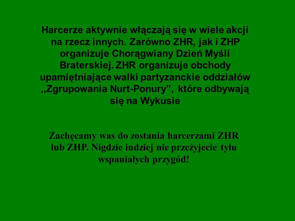 Harcerze aktywnie włączają się w wiele akcji na rzecz innych. Zarówno ZHR, jak i ZHP organizuje Chorągwiany Dzień Myśli Braterskiej. ZHR organizuje ob