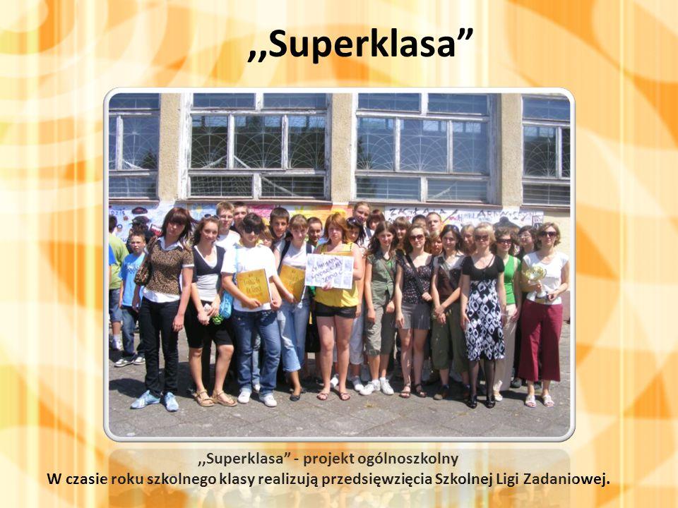 ,,Superklasa ,,Superklasa - projekt ogólnoszkolny W czasie roku szkolnego klasy realizują przedsięwzięcia Szkolnej Ligi Zadaniowej.