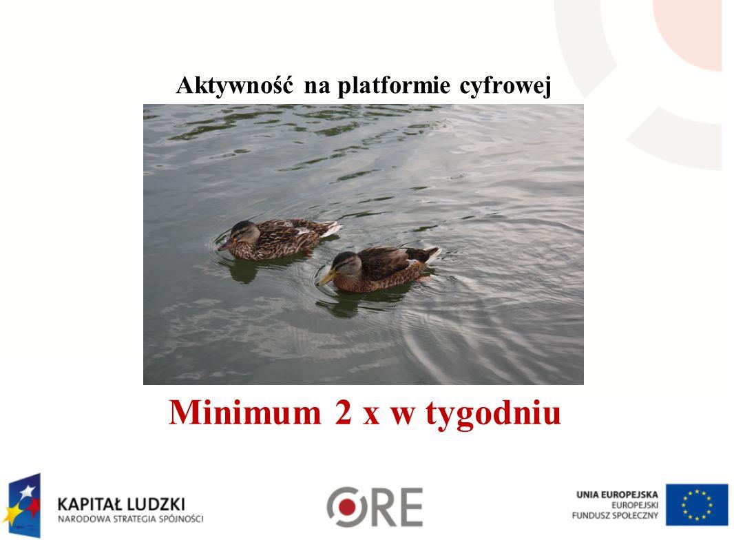 Aktywność na platformie cyfrowej Minimum 2 x w tygodniu