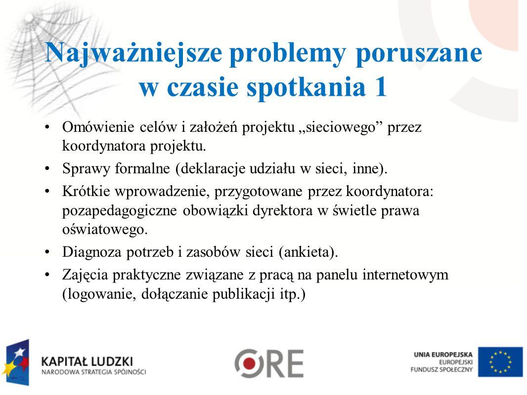 """Najważniejsze problemy poruszane w czasie spotkania 1 Omówienie celów i założeń projektu """"sieciowego"""" przez koordynatora projektu. Sprawy formalne (de"""