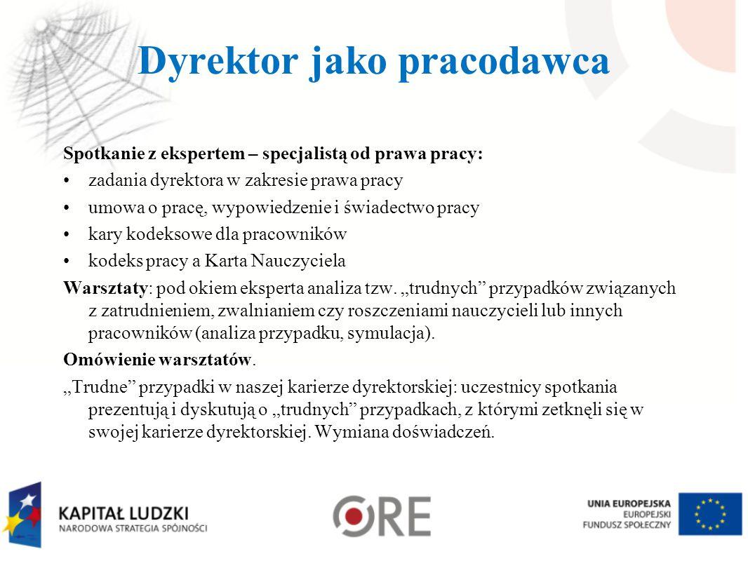 Dyrektor jako pracodawca Spotkanie z ekspertem – specjalistą od prawa pracy: zadania dyrektora w zakresie prawa pracy umowa o pracę, wypowiedzenie i ś