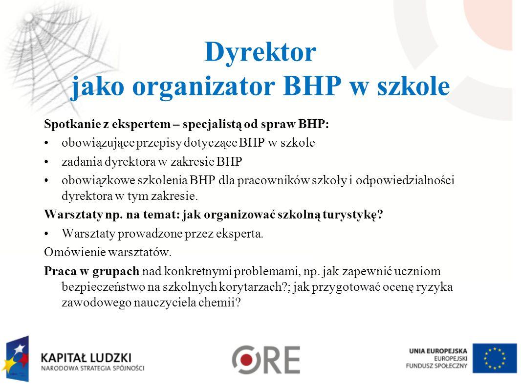 Dyrektor jako organizator BHP w szkole Spotkanie z ekspertem – specjalistą od spraw BHP: obowiązujące przepisy dotyczące BHP w szkole zadania dyrektor