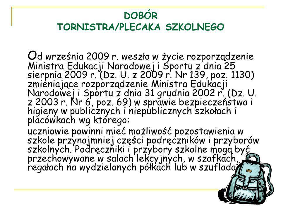 DOBÓR TORNISTRA/PLECAKA SZKOLNEGO O d września 2009 r. weszło w życie rozporządzenie Ministra Edukacji Narodowej i Sportu z dnia 25 sierpnia 2009 r. (