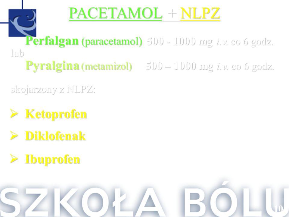 101 PACETAMOL + NLPZ Perfalgan (paracetamol) 500 - 1000 mg i.v. co 6 godz. lub Pyralgina (metamizol) 500 – 1000 mg i.v. co 6 godz. skojarzony z NLPZ: