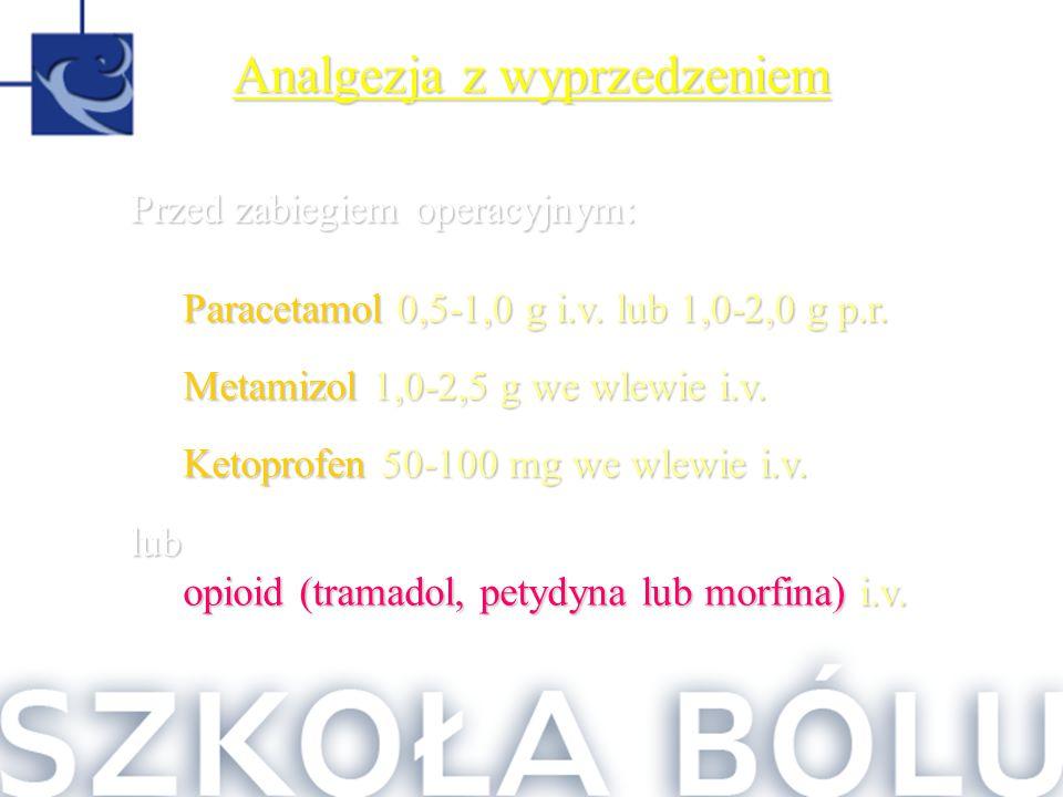 Analgezja z wyprzedzeniem Przed zabiegiem operacyjnym: Paracetamol 0,5-1,0 g i.v. lub 1,0-2,0 g p.r. Metamizol 1,0-2,5 g we wlewie i.v. Ketoprofen 50-
