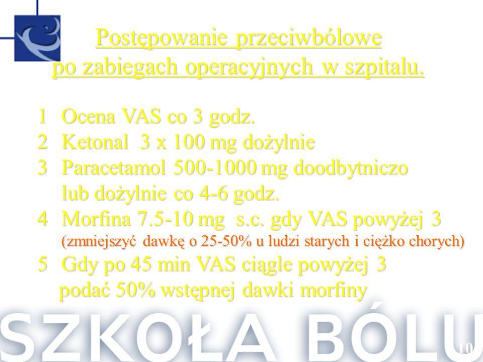 1 Ocena VAS co 3 godz. 2 Ketonal 3 x 100 mg dożylnie 3 Paracetamol 500-1000 mg doodbytniczo lub dożylnie co 4-6 godz. 4 Morfina 7.5-10 mg s.c. gdy VAS