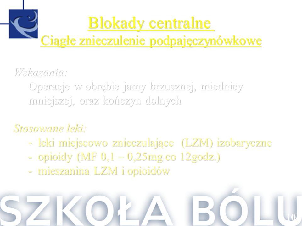 108 Blokady centralne Ciągłe znieczulenie podpajęczynówkowe Wskazania: Operacje w obrębie jamy brzusznej, miednicy mniejszej, oraz kończyn dolnych Sto