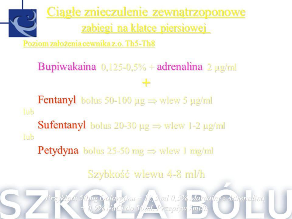 Poziom założenia cewnika z.o. Th5-Th8 Bupiwakaina 0,125-0,5% + adrenalina 2 µg/ml + Fentanyl bolus 50-100 µg  wlew 5 µg/ml lub Sufentanyl bolus 20-30