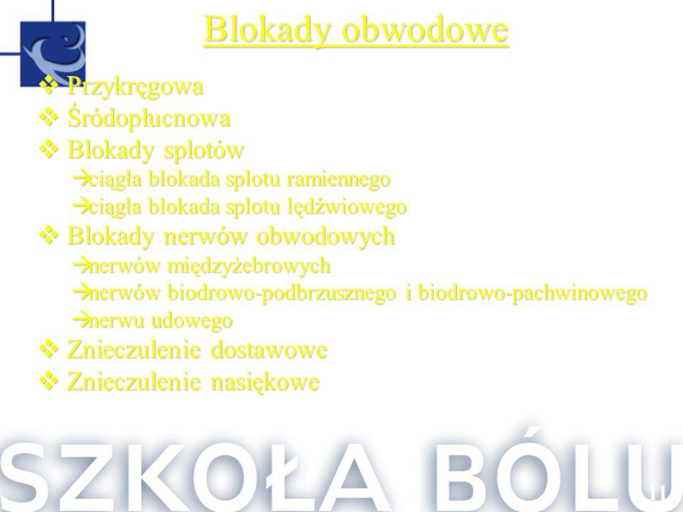 116 Blokady obwodowe  Przykręgowa  Śródopłucnowa  Blokady splotów  ciągła blokada splotu ramiennego  ciągła blokada splotu lędźwiowego  Blokady