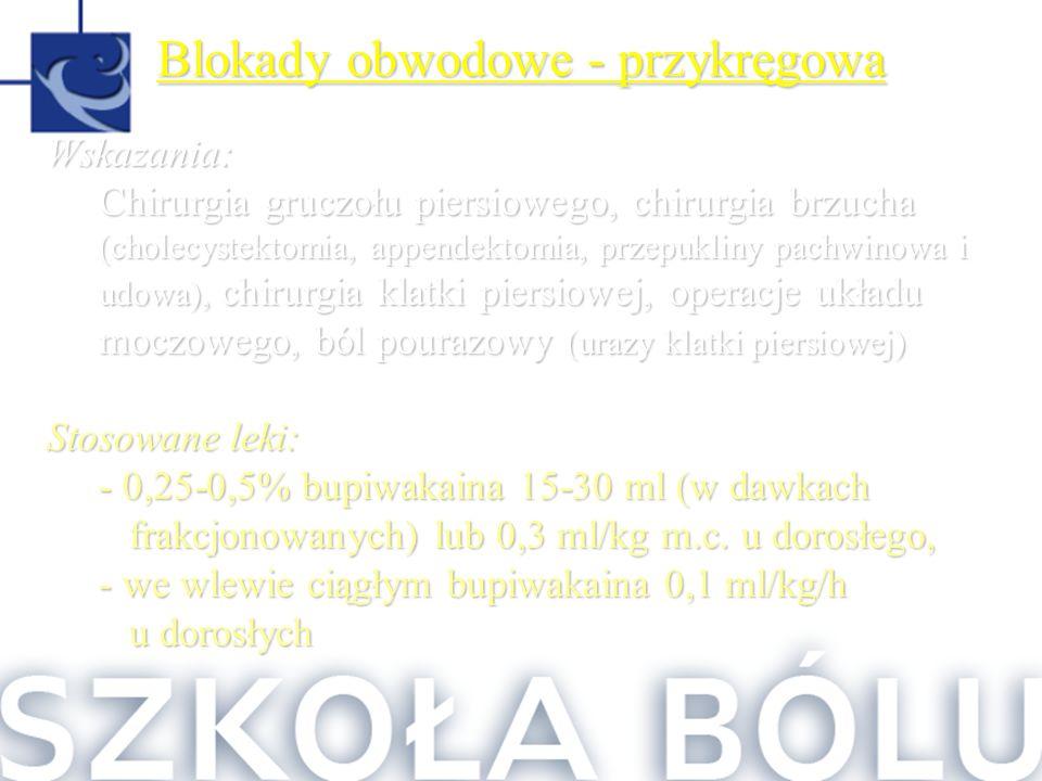 Blokady obwodowe - przykręgowa Wskazania: Chirurgia gruczołu piersiowego, chirurgia brzucha (cholecystektomia, appendektomia, przepukliny pachwinowa i