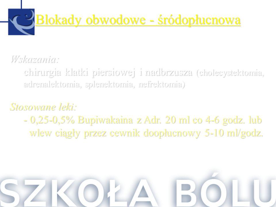 Blokady obwodowe - śródopłucnowa Wskazania: chirurgia klatki piersiowej i nadbrzusza (cholecystektomia, adrenalektomia, splenektomia, nefrektomia) Sto