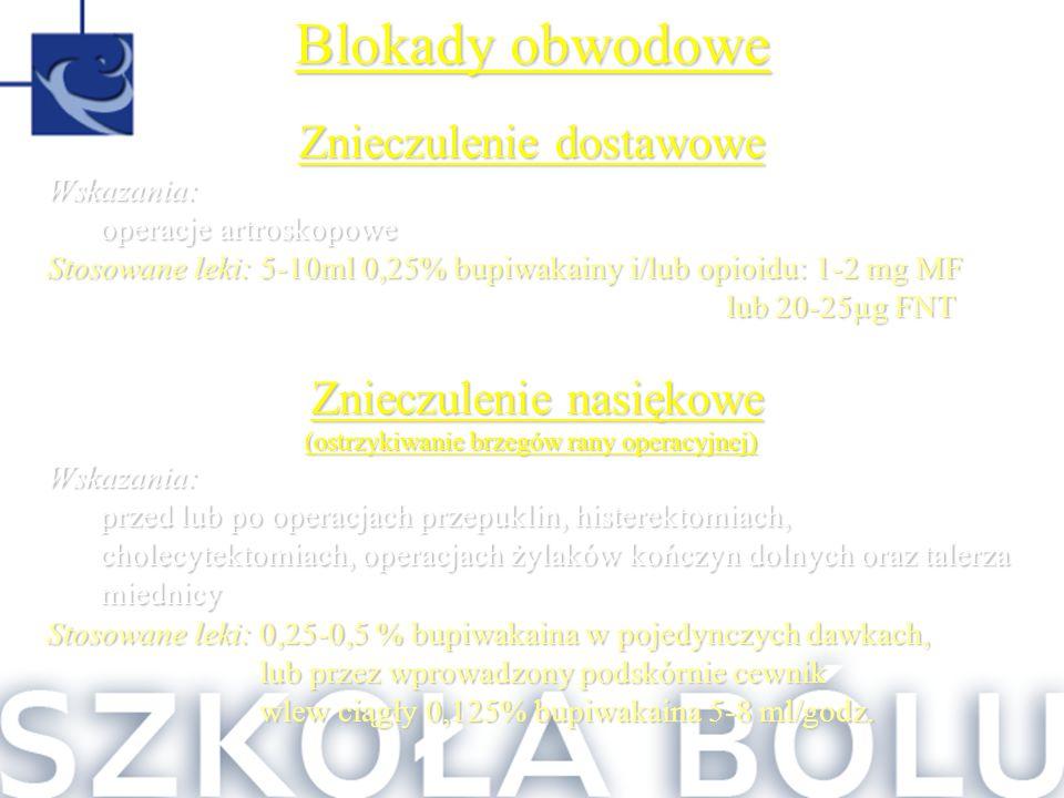 Blokady obwodowe Znieczulenie dostawowe Wskazania: operacje artroskopowe Stosowane leki: 5-10ml 0,25% bupiwakainy i/lub opioidu: 1-2 mg MF lub 20-25µg