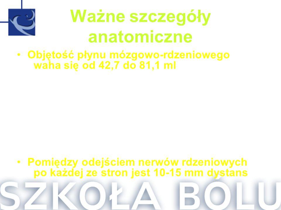 Ważne szczegóły anatomiczne Objętość płynu mózgowo-rdzeniowego waha się od 42,7 do 81,1 ml Unaczynienie rdzenia (tętnica rdzeniowa przednia, tętnice r