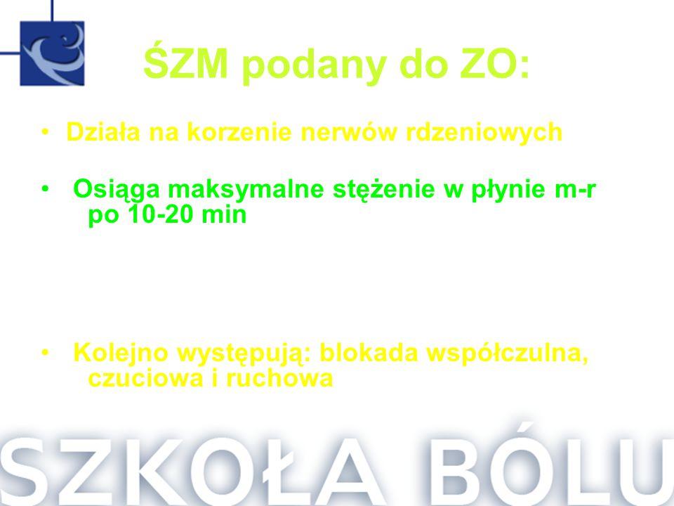 ŚZM podany do ZO: Działa na korzenie nerwów rdzeniowych Osiąga maksymalne stężenie w płynie m-r po 10-20 min Jest częściowo tracony przez otwory międz