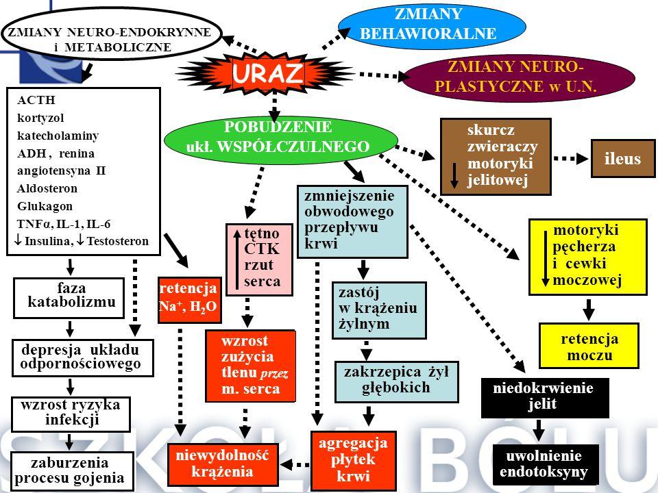 skurcz zwieraczy motoryki jelitowej ileus  ACTH  kortyzol  katecholaminy  ADH,  renina  angiotensyna II  Aldosteron  Glukagon  TNFα, IL
