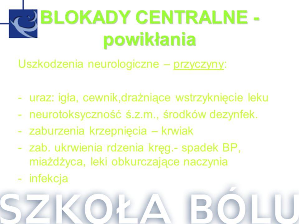 BLOKADY CENTRALNE - powikłania Uszkodzenia neurologiczne – przyczyny: -uraz: igła, cewnik,drażniące wstrzyknięcie leku -neurotoksyczność ś.z.m., środk