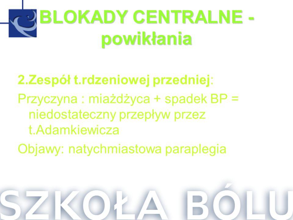 BLOKADY CENTRALNE - powikłania 2.Zespół t.rdzeniowej przedniej: Przyczyna : miażdżyca + spadek BP = niedostateczny przepływ przez t.Adamkiewicza Objaw