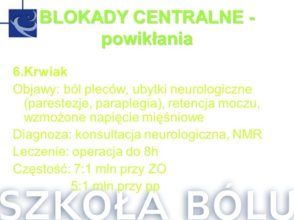 BLOKADY CENTRALNE - powikłania 6.Krwiak Objawy: ból pleców, ubytki neurologiczne (parestezje, paraplegia), retencja moczu, wzmożone napięcie mięśniowe