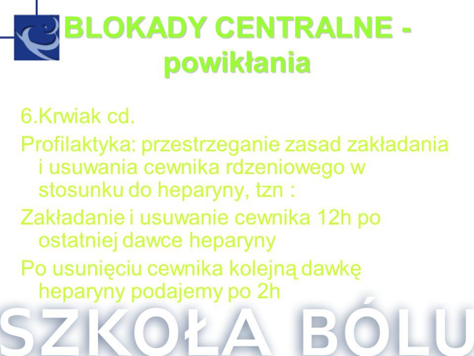 BLOKADY CENTRALNE - powikłania 6.Krwiak cd. Profilaktyka: przestrzeganie zasad zakładania i usuwania cewnika rdzeniowego w stosunku do heparyny, tzn :