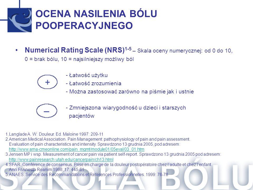 OCENA NASILENIA BÓLU POOPERACYJNEGO Numerical Rating Scale (NRS) 1-5 – Skala oceny numerycznej: od 0 do 10, 0 = brak bólu, 10 = najsilniejszy możliwy