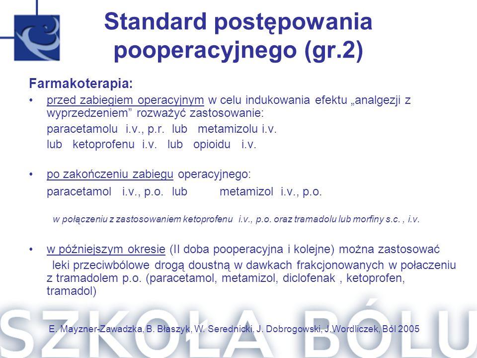 """Standard postępowania pooperacyjnego (gr.2) Farmakoterapia: przed zabiegiem operacyjnym w celu indukowania efektu """"analgezji z wyprzedzeniem"""" rozważyć"""