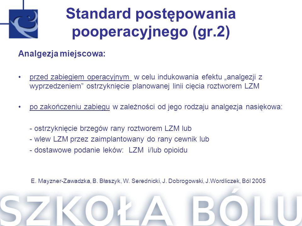 """Standard postępowania pooperacyjnego (gr.2) Analgezja miejscowa: przed zabiegiem operacyjnym w celu indukowania efektu """"analgezji z wyprzedzeniem"""" ost"""