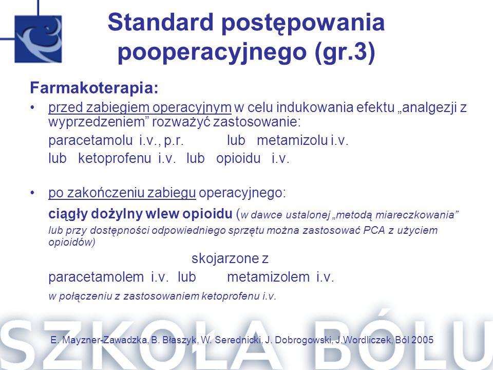 """Standard postępowania pooperacyjnego (gr.3) Farmakoterapia: przed zabiegiem operacyjnym w celu indukowania efektu """"analgezji z wyprzedzeniem"""" rozważyć"""