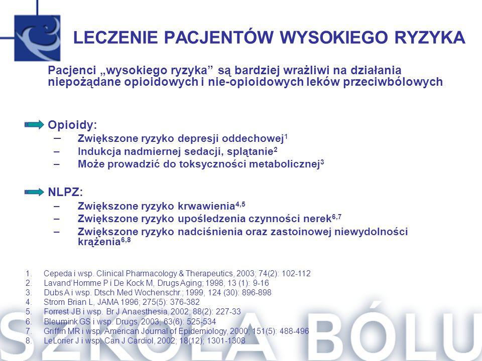 LECZENIE PACJENTÓW WYSOKIEGO RYZYKA 1.Cepeda i wsp. Clinical Pharmacology & Therapeutics, 2003; 74(2): 102-112 2.Lavand'Homme P i De Kock M, Drugs Agi