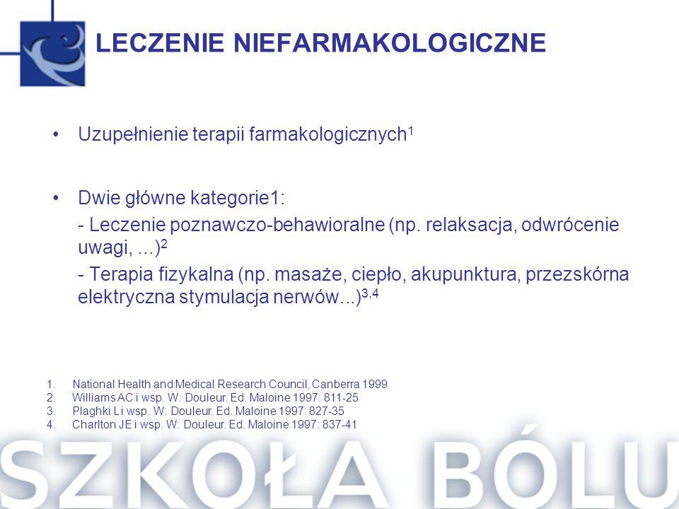 LECZENIE NIEFARMAKOLOGICZNE Uzupełnienie terapii farmakologicznych 1 Dwie główne kategorie1: - Leczenie poznawczo-behawioralne (np. relaksacja, odwróc