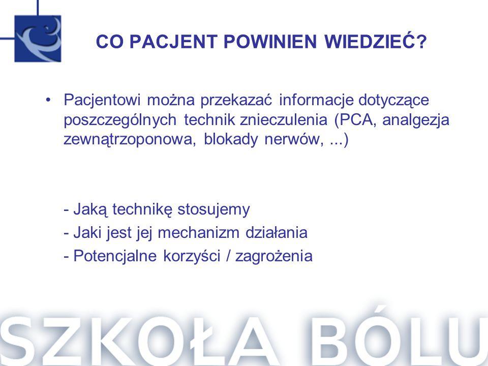 CO PACJENT POWINIEN WIEDZIEĆ? Pacjentowi można przekazać informacje dotyczące poszczególnych technik znieczulenia (PCA, analgezja zewnątrzoponowa, blo