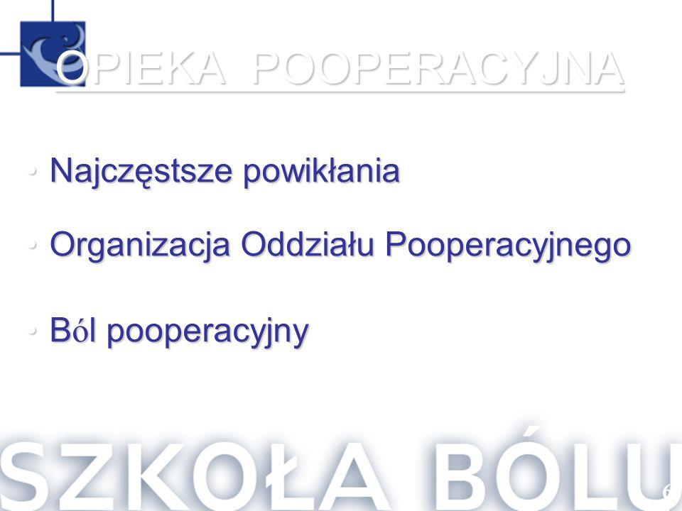 Najczęstsze powikłaniaNajczęstsze powikłania Organizacja Oddziału PooperacyjnegoOrganizacja Oddziału Pooperacyjnego B ó l pooperacyjnyB ó l pooperacyj