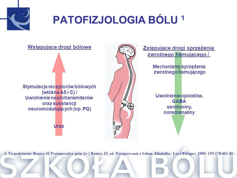 PATOFIZJOLOGIA BÓLU 1 Wstępujące drogi bólowe Stymulacja receptorów bólowych (włókna Aδ i C) / Uwolnienie neurotransmiterów oraz substancji neuromodul