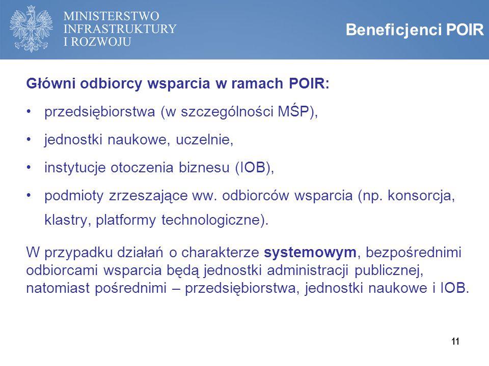 Beneficjenci POIR Główni odbiorcy wsparcia w ramach POIR: przedsiębiorstwa (w szczególności MŚP), jednostki naukowe, uczelnie, instytucje otoczenia bi