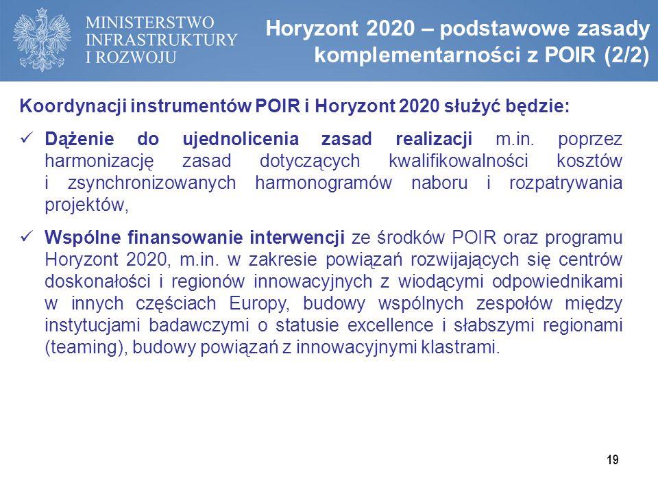 Horyzont 2020 – podstawowe zasady komplementarności z POIR (2/2) 19 Koordynacji instrumentów POIR i Horyzont 2020 służyć będzie: Dążenie do ujednolice