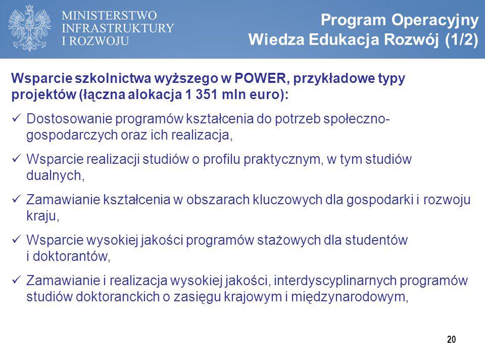 Program Operacyjny Wiedza Edukacja Rozwój (1/2) Wsparcie szkolnictwa wyższego w POWER, przykładowe typy projektów (łączna alokacja 1 351 mln euro): Do