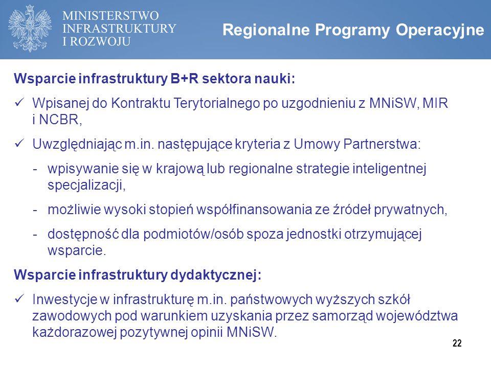 Regionalne Programy Operacyjne Wsparcie infrastruktury B+R sektora nauki: Wpisanej do Kontraktu Terytorialnego po uzgodnieniu z MNiSW, MIR i NCBR, Uwz