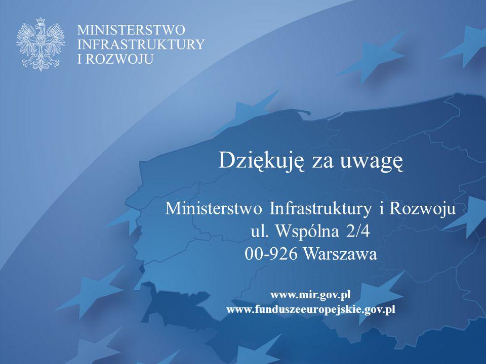 Dziękuję za uwagę Ministerstwo Infrastruktury i Rozwoju ul. Wspólna 2/4 00-926 Warszawa www.mir.gov.pl www.funduszeeuropejskie.gov.pl