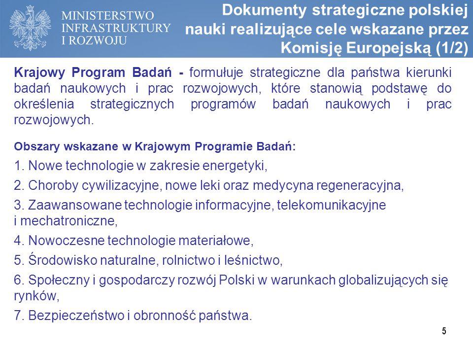 Dokumenty strategiczne polskiej nauki realizujące cele wskazane przez Komisję Europejską (1/2) Krajowy Program Badań - formułuje strategiczne dla pańs
