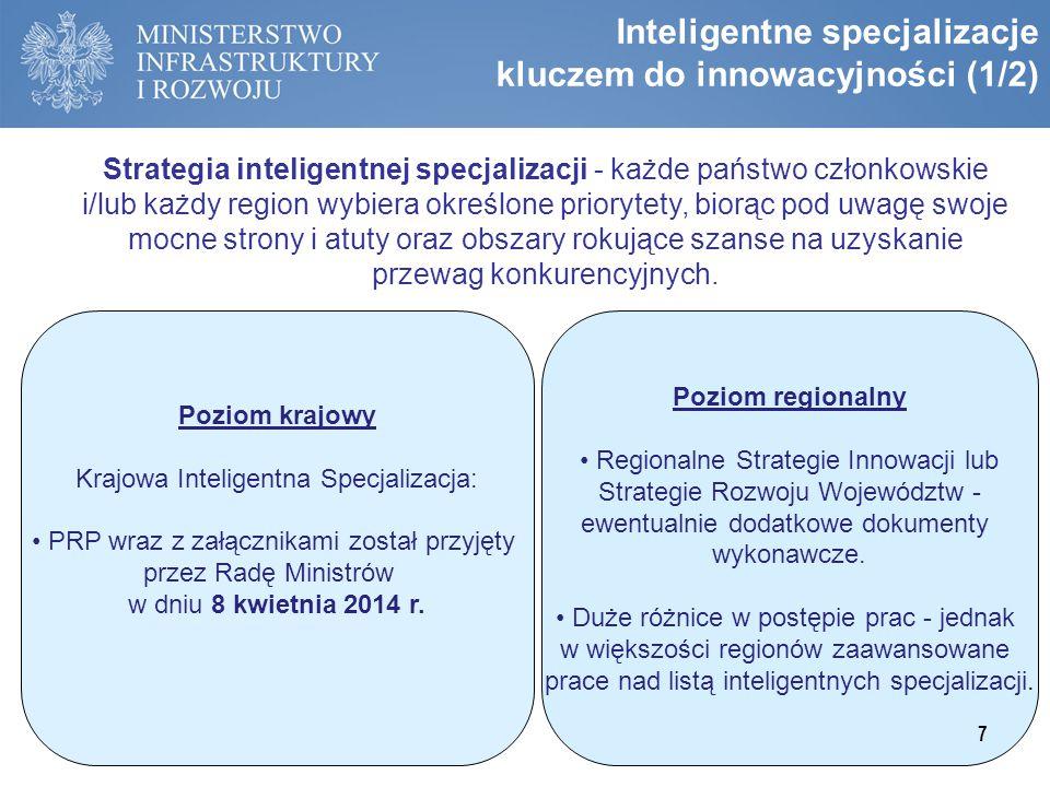 Inteligentne specjalizacje kluczem do innowacyjności (1/2) Strategia inteligentnej specjalizacji - każde państwo członkowskie i/lub każdy region wybie
