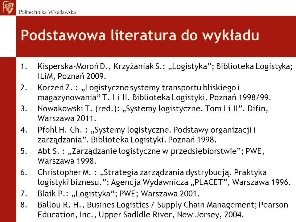 """Podstawowa literatura do wykładu 1.Kisperska-Moroń D., Krzyżaniak S.: """"Logistyka""""; Biblioteka Logistyka; ILiM, Poznań 2009. 2.Korzeń Z. : """"Logistyczne"""